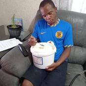 Stress caused by Kaizer Chiefs loss made this man eat whole 5 litre bucket of yoghurt