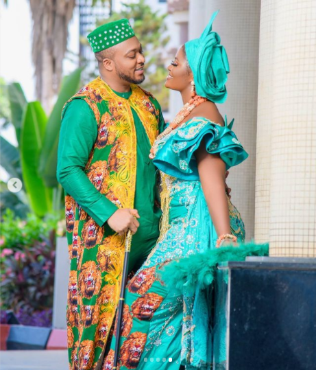 Pictures from the  celebration of the first anniversary of actress Chizzy Alichi and husband Ugochukwu's traditional wedding.