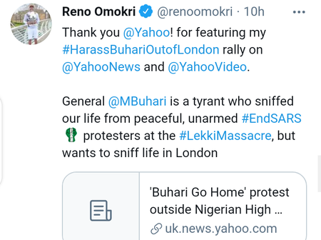 After Yahoo Published The Protest Led by Reno At Abuja House In London, Check What Reno Did Next