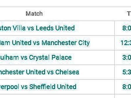 Premier League Fixtures This Weekend