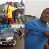 Video:Watch As Driver Who Tried To Escape From LASTMA Knocked One Official Off The Bridge In Lagos.