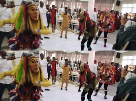 Photos: Masquerades Storm Man's Wedding Reception In Uyo, See What They Did That Got People Talking