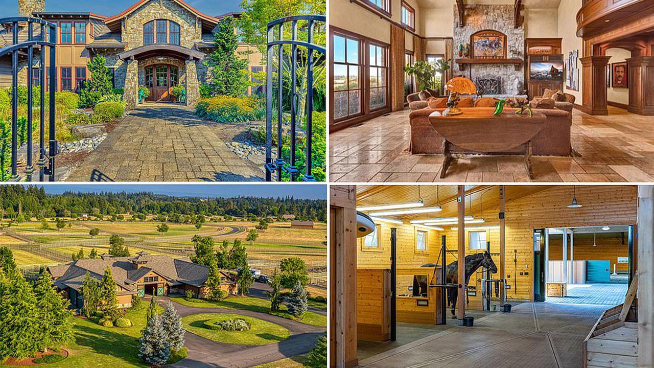 Ex-wife of Oracle billionaire Larry Ellison lists her 200-acre Oregon horse farm, complete with a 10,000-sq-ft home, for $19.5M - but her 90 horses aren't included