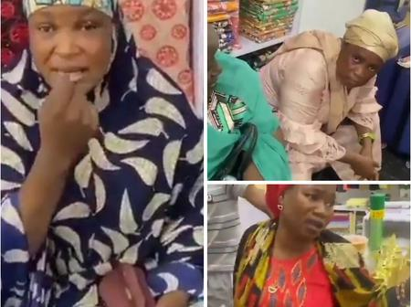 VIDEO: Drama As 4 Women Caught In Kano Stealing Valuables And Hiding Under Hijab.