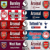 Arsenal's Next 5 Matches In All Competitions This Month