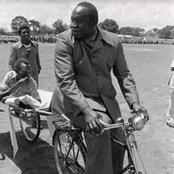 Throwback Photo Of Idi Amin Test Riding a bicycle ambulance for patients