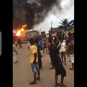 Breaking: Fire Guts Tanker At A Filling Station In Alagbole Akute, Lagos State