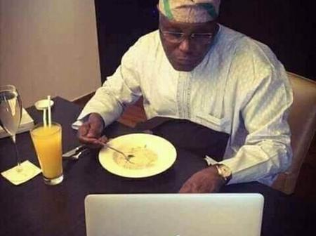 Photos Of Obasanjo, Atiku, Davido And Other Celebrities Drinking Garri (Photos)