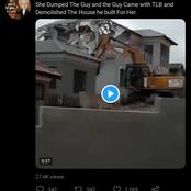 Watch This! A Guy Demolishes The House He Built After Being Dumped By Girlfriend