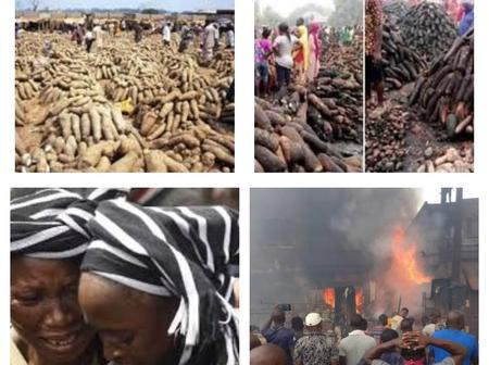 Traders Cried For Help, Farmers Count Their Loss As Fire Razes Yam Market in Plateau State