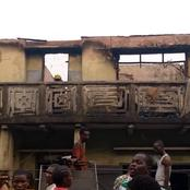 PICS: All eight rooms destroyed, valuables lost as fire razes top floor of storey building in Lagos