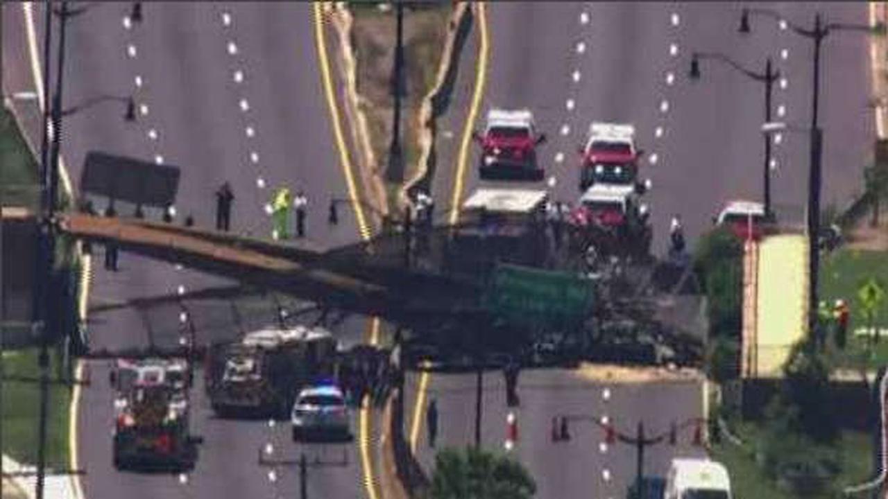 Video: At least 6 hurt in pedestrian bridge collapse in D.C.