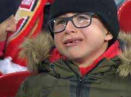 Arsenal fans cried after their team was beaten yesterday by Aston Villa.