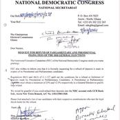 NDC requests for the refund of the filing fees of the 2020 parliamentary and presidential elections
