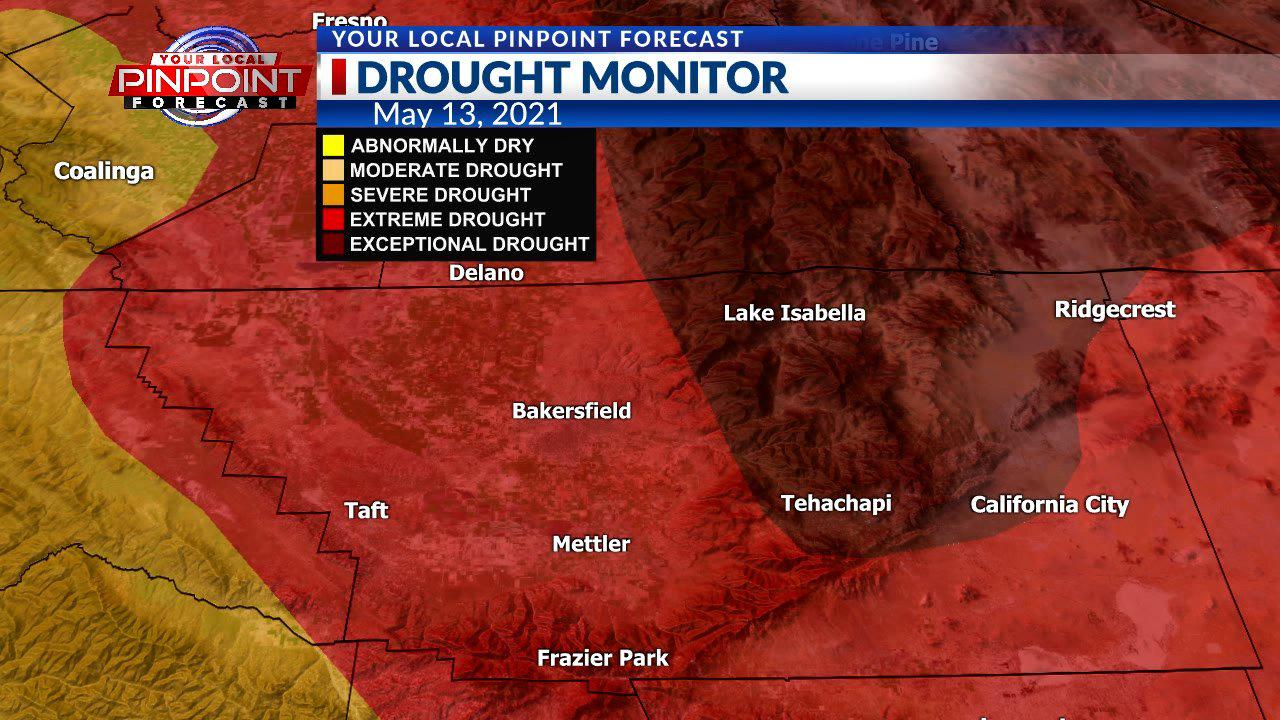 All of Kern County in 'extreme' or 'exceptional' drought, per US Drought Monitor