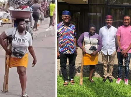 Former Imo Chief Of Staff, Uche Nwosu Meets Disabled Pure Water Seller, Gifts Her N1 Million (Photos)
