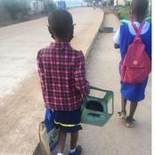 Checkout what this LITTLE GIRL was carrying to SCHOOL today that got people talking (Photos)