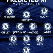 Chelsea possible lineup against Everton