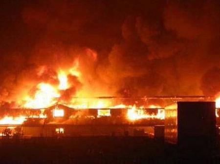 One Year After An Inferno Ravaged Ebute Meta, Fire Burns Down Many Houses Again