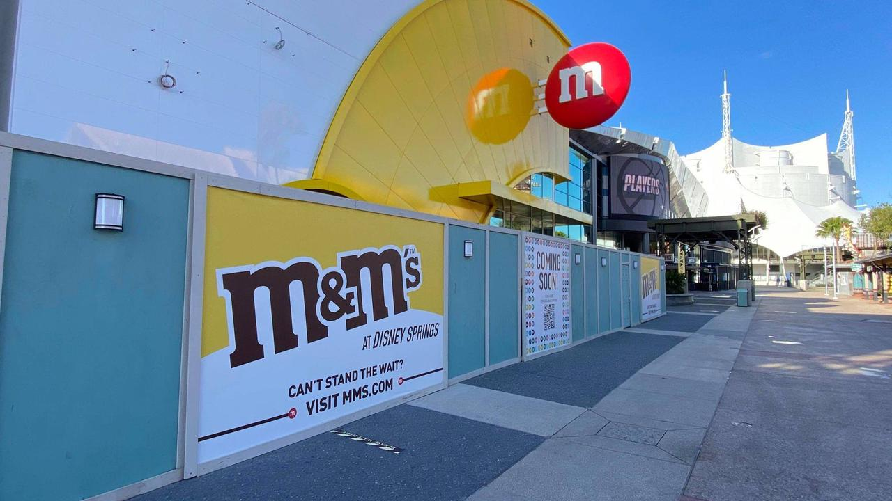 Sign is up at M&M Store in Disney Springs