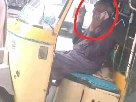 Reactions As Keke Rider Is Seen Using A Phone Presumably More Expensive Than His Keke.