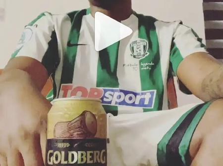 Zubby Michael, Reminisce & others react as Olamide shares video of himself drinking Goldberg can beer