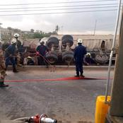 Pictures :Trailer Carrying Cement Overturns, Kills People.