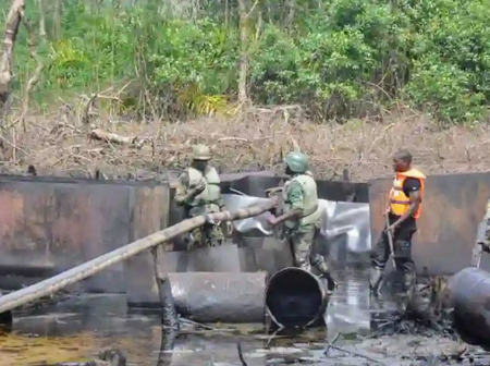 Soldiers Destroy Illegal Oil Refinery in Rivers