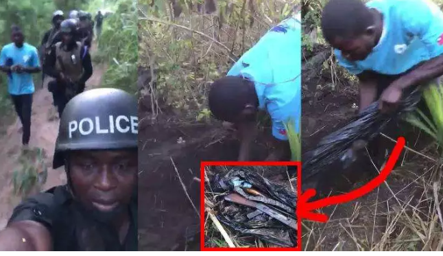54a0f2bd410699d75bf4f1a5ba5e0d3e?quality=uhq&resize=720 - This Is How Police Stolen Guns By The Togolanders Were Retrieved After It Was Buried In A Bush (Video)