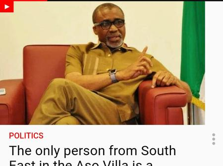 The only person from South East in Aso Rock is a photographer - Abaribe.