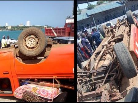 Drama at Likoni ferry as yet another Car is involved in an accident just before boarding the ferry