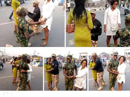 Nigerian Soldiers Knelt Down To Propose To Their Girlfriends On The Road & They Both Said Yes