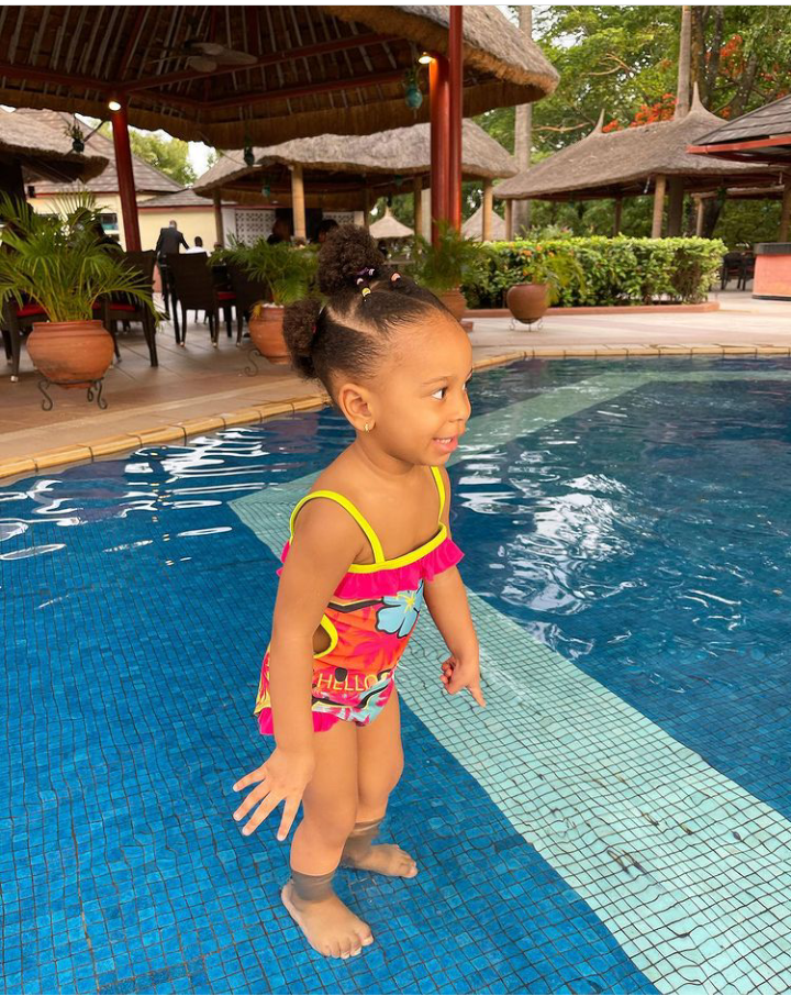 BBNaija star, TBoss releases adorable new photos of her daughter playing in the swimming pool 15