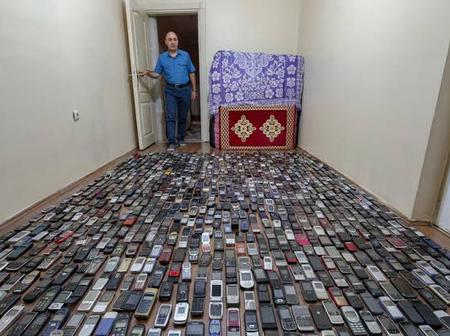 See the number of phones found in this man's house
