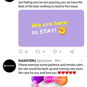 People React As Racksterli Website Is Temporarily Down