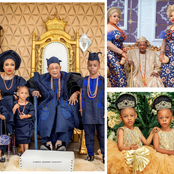 Check Out Photos Of Alaafin Of Oyo's Wives Who Received House Gifts From Him With Their Children