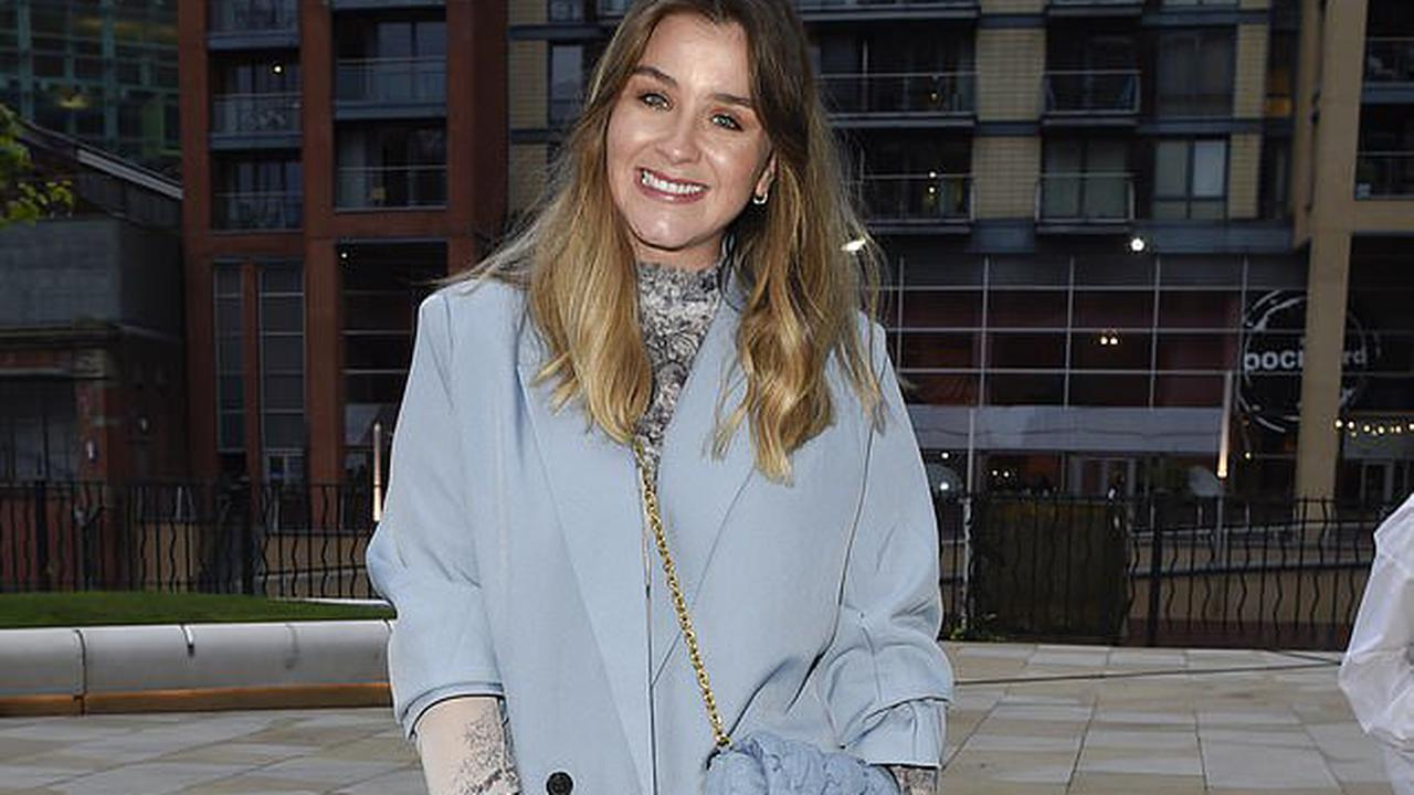Coronation Street's Brooke Vincent puts on a leggy display in a pale blue blazer as she enjoys a night out with friends in Manchester