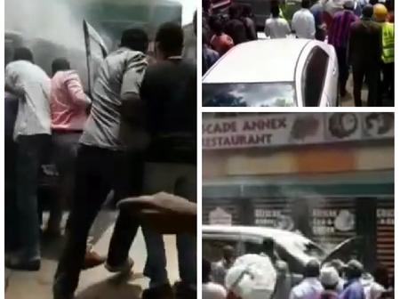 [Video] Drama as a Vehicle Mysteriously Burns Outside a Hotel In Thika
