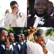 Check out Photos of Grooms shedding tears as they behold their brides on wedding dress
