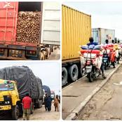 PHOTOS: See Trucks Carrying Foodstuffs Into The South Before The Blockade Started