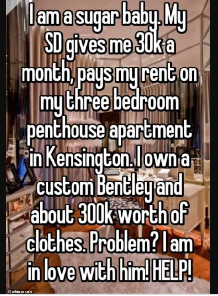 """""""My sugar daddy pays me $5000 a month to have sex with me"""