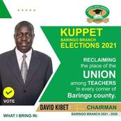David Kibet has been elected Kuppet chairman Baringo branch after garnering a total of 669 votes