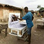 Reactions As Man Asks For Patronage In His Coffin Making Business