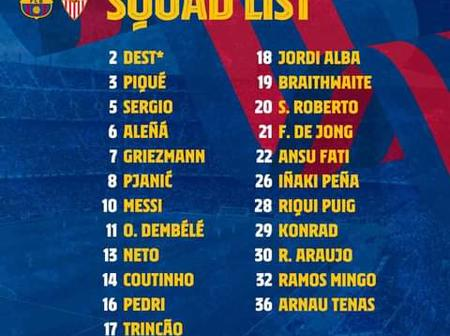 FC Barcelona Squad list ahead of their Match Against Seville