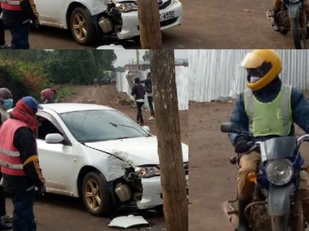 Photos: Car Driver Escaped Colliding with Motorist by Hitting an Electric Pole at Ngong, KPLC Bashed