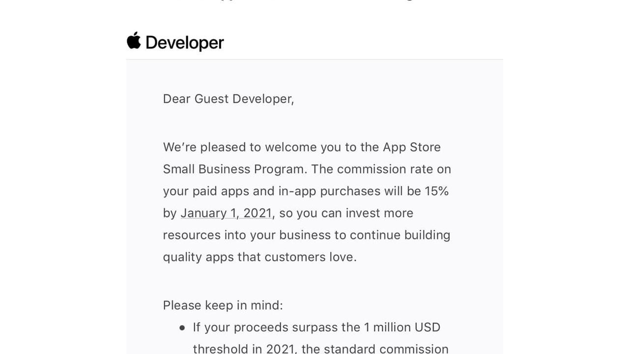 Apple prévient les développeurs qui bénéficieront de la commission à 15% en 2021