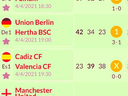 7 Sure Bets That You Are Assured Of Winning This Sunday Night i.e Valencia, Cadiz, Manchester United