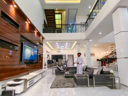 Check out the interior of Rudeboy's house, which has studio and swimming pool
