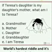 If Teresa's daughter is my daughter's mother, what am I to Teresa? - Can you solve it?