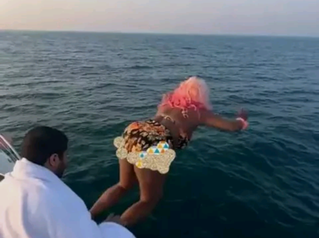 """""""I'm Sorry Papa"""" – DJ Cuppy Finally Apologizes To Her Dad After She Jumped Into The Sea! (Photos)"""